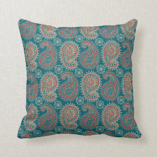 Heffalumps Red Blue Beige Paisley Pillow, Cushion