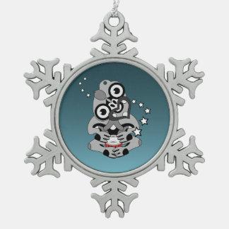 Hei Tiki New Zealand Drum Maori design Snowflake Pewter Christmas Ornament