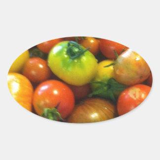 Heirloom tomatoes oval sticker