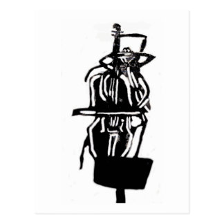 Helga The Black Widow Spider On Cello, Stamped Postcard