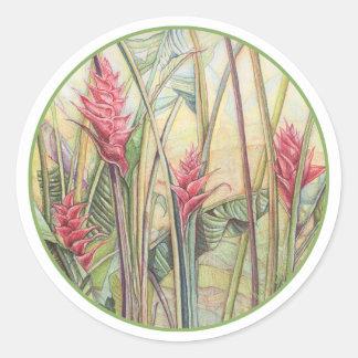Heliconia Bush Classic Round Sticker