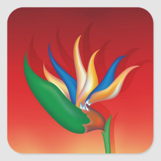 Heliconia Flower Square Sticker