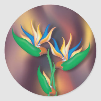 Heliconia Flowers Classic Round Sticker