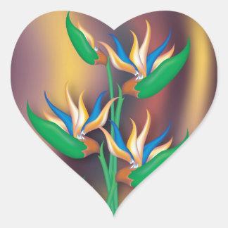 Heliconia Flowers Heart Sticker