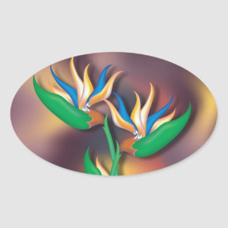 Heliconia Flowers Oval Sticker