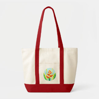 Heliconia Tropical Flower Batik Canvas Tote Bag