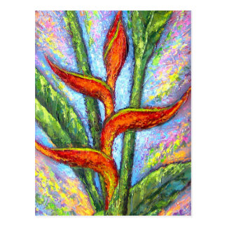 Heliconia Tropical Flower Painting - Multi Postcard