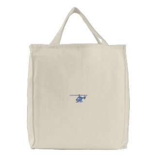 Helicopter Embroidered Tote Bag