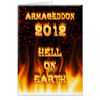 Hell on earth fire and flames. card