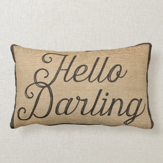 Hello and Goodbye Darling Vintage Burlap Lumbar Cushion