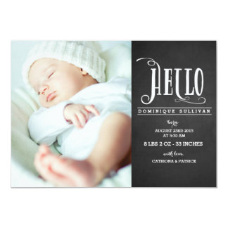 Hello Baby Chalkboard Photo Birth Announcement