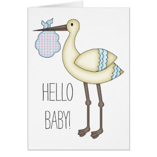 Hello Baby Greeting Card - Blue Stork