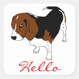 Hello Beagle Puppy Dog Greeting Stickers
