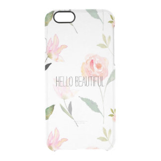 Hello Beautiful Watercolor Floral Clear iPhone 6/6S Case