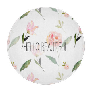 Hello Beautiful Watercolor Floral Cutting Board