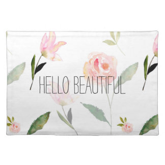 Hello Beautiful Watercolor Floral Placemat