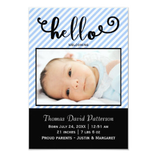 hello blue stripes photo - 3x5 Birth Announcement