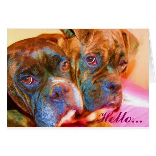 Hello Boxer Art greeting card