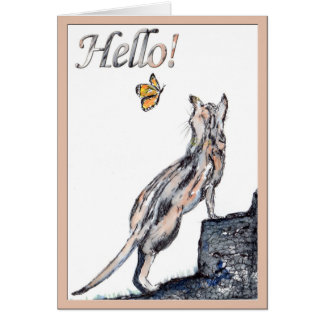 Hello! cat greeting card (a277)