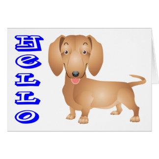 Hello Dachshund Puppy Dog Greeting Note Card