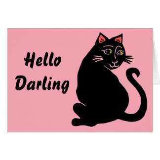 Hello Darling Black Cat Pink Greeting Card