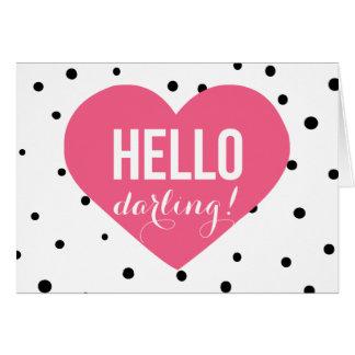 Hello Darling | Polka Dots Greeting Card