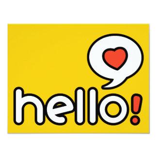 "Hello -  Flat Greeting Card 4.25"" X 5.5"" Invitation Card"