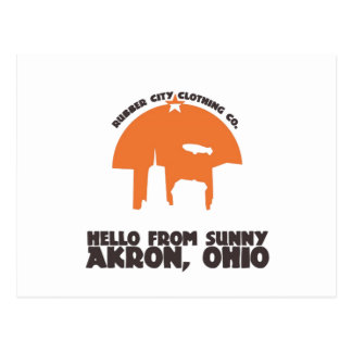 Hello From Sunny Akron Ohio` Postcard