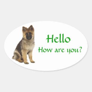 Hello German Shepherd Puppy Dog Greeting Stickers