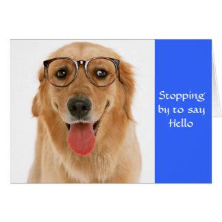 Hello Golden Retriever Dog & Glasses Greeting Card