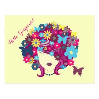 Hello, Gorgeous! Beautiful Flower Lady Postcard