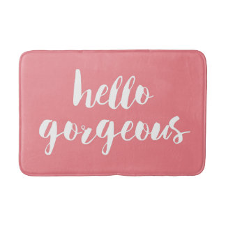 Hello Gorgeous | Coral Pink & White Typography Bath Mats