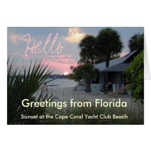 Hello Greeting Card - Florida Sunset