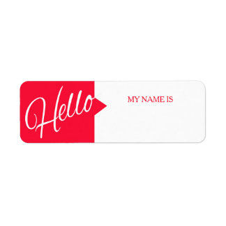Hello greetings introduction red name labels