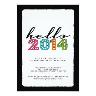 Hello Happy New Year 2014 New Year's Eve Party Card