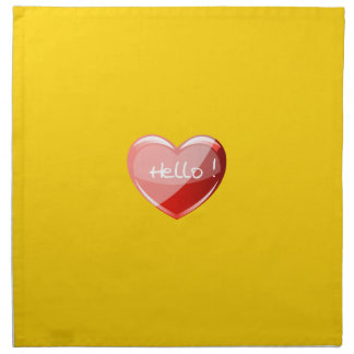 Hello! Heart On Chic Canary Yellow Background Printed Napkin