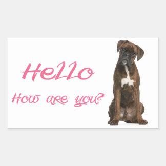 Hello Hi Boxer Puppy Dog Greeting Sticker