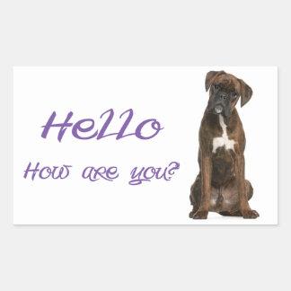 Hello / Hi  Boxer Puppy Dog Greeting Sticker