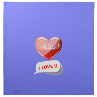 Hello! I Love U! Heart On Blue Violet Orchid. Chic Printed Napkins