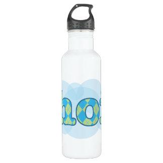 Hello in dutch hoi with argyle pattern 710 ml water bottle