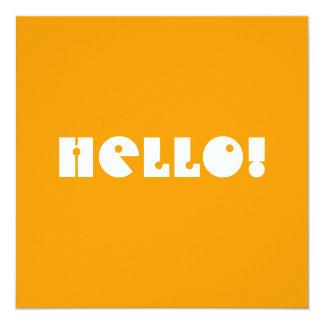 Hello!  In Orange and White. Custom Custom Invitations