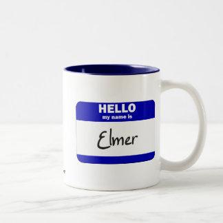 Hello My Name Is Elmer (Blue) Two-Tone Coffee Mug