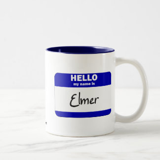 Hello My Name Is Elmer (Blue) Two-Tone Mug