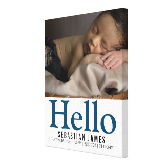 Hello New Baby Boy Personalized keepsake Canvas Print