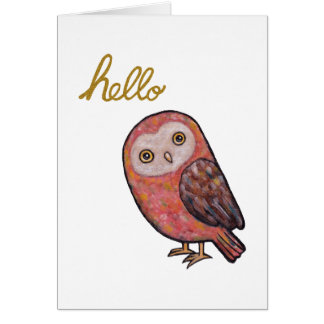 Hello Owl Greeting Card Hand Lettering Hello Owl