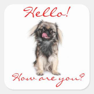 Hello Pekingese Puppy Dog Greeting Sticker