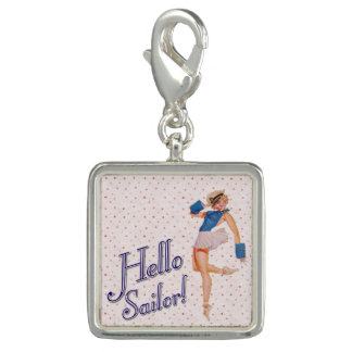 Hello Sailor Pin-up Girl Silver Plated Charm