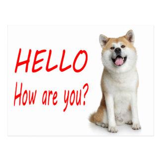 Hello Shiba Inu Puppy Dog Greeting Post Card
