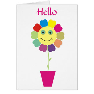 Hello Smiley Happy Face Sunflower Greeting Card