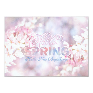Hello Spring Pink Sakura Cherry Blossom Watercolor Card